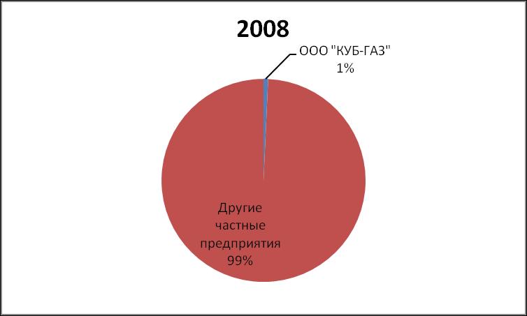 DOLYA RYNKA NEFTI I GAZOVOGO KONDENSATA KUB-GAZ 2008